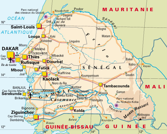 Carte Du Senegal.Senegal Blog De Voyage